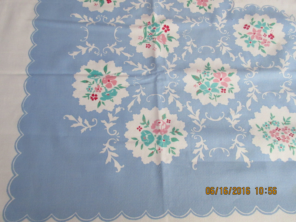Pastel Flower Medallions on Blue Cutter? Floral Vintage Printed Tablecloth (52 X 50)