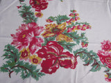 Early Pink Red Yellow Poppies Iris Floral Vintage Printed Tablecloth (52 X 46)