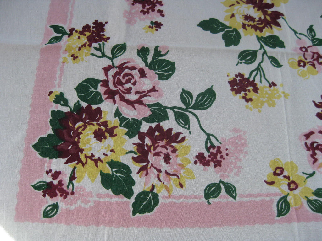 Early Pink Yellow Roses Floral MWT Vintage Printed Tablecloth (53 X 51)