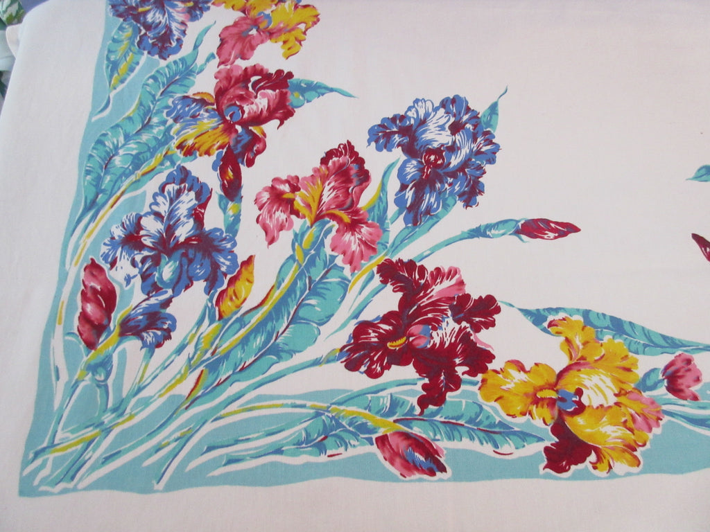 Giant Primary Iris on Aqua Floral Vintage Printed Tablecloth (77 X 61)
