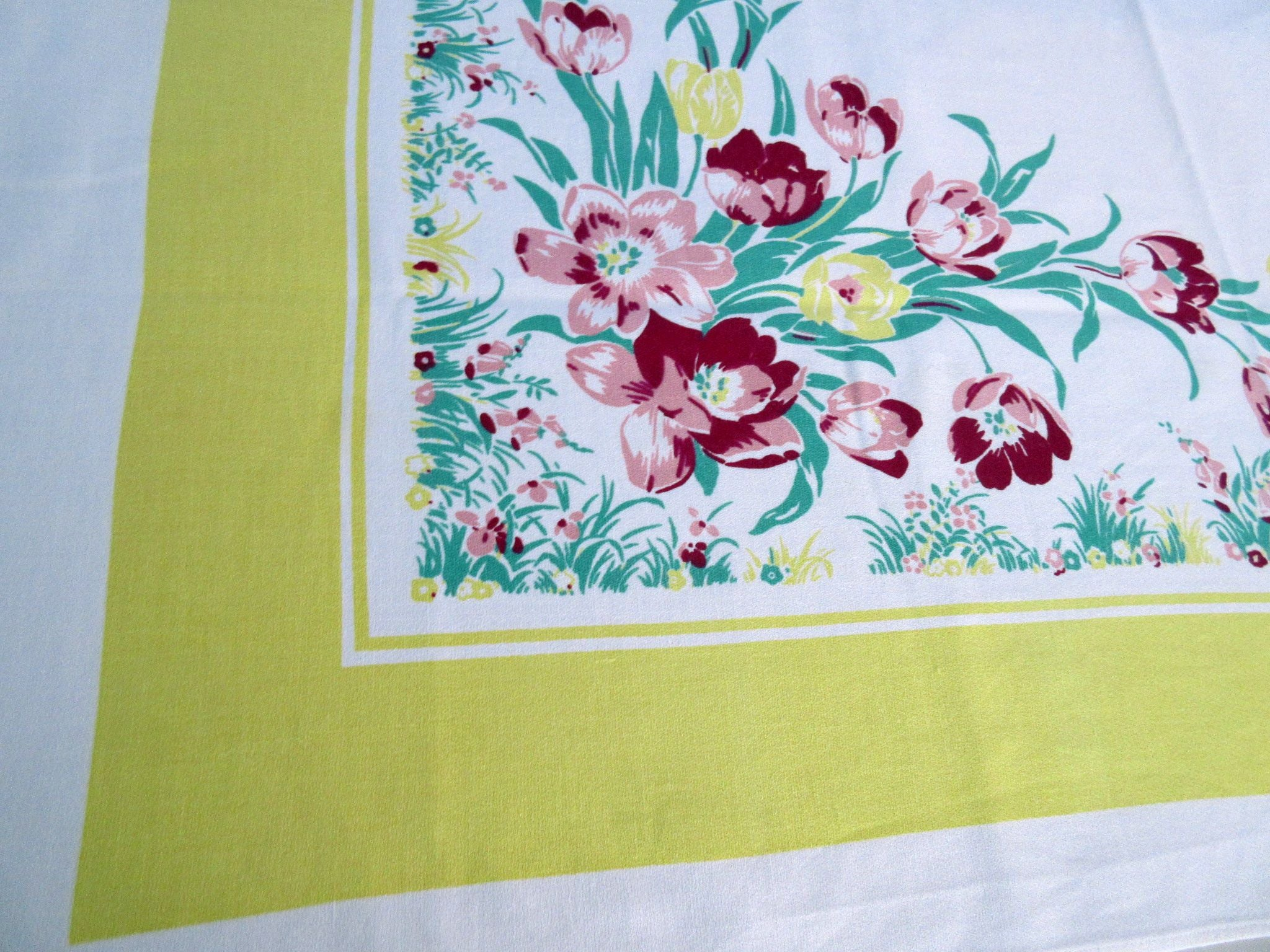 Pink Tulips on Yellow Floral Vintage Printed Tablecloth (51 X 48)