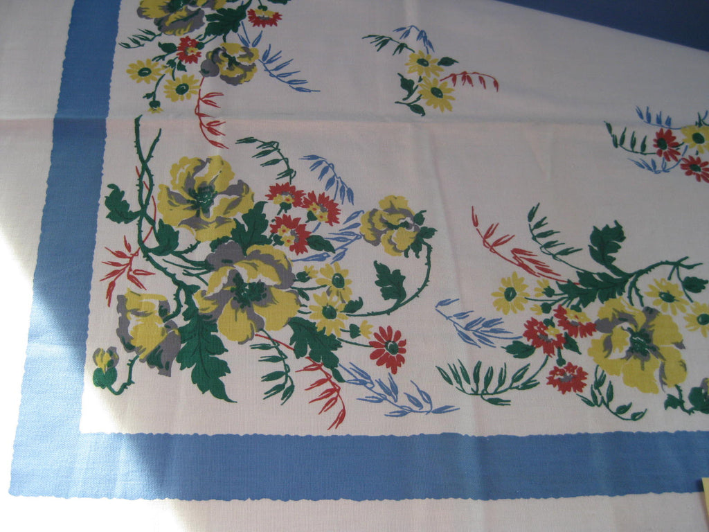 Yellow Poppies on Blue Floral MWT Vintage Printed Tablecloth (54 X 53)