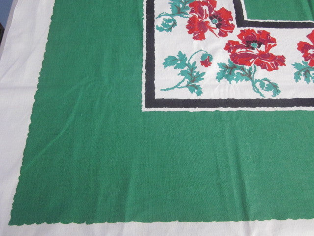 Red Poppies on Green Floral Vintage Printed Tablecloth (50 X 47)