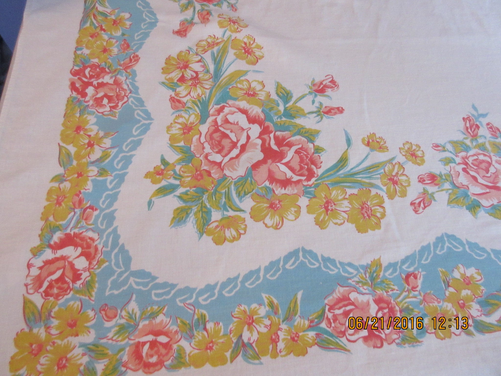 Unusual Coral Yellow Roses on Aqua Floral Vintage Printed Tablecloth (67 X 50)