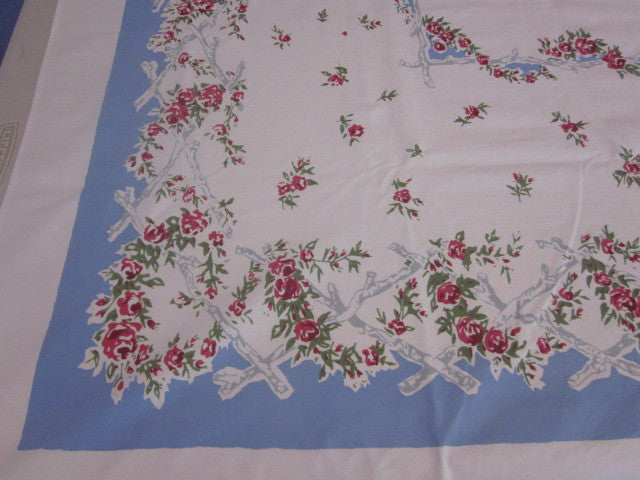 Red Roses Branches on Blue Floral Vintage Printed Tablecloth (63 X 52)