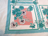 Giant Teal Roses on Coral Floral Vintage Printed Tablecloth (80 X 64)