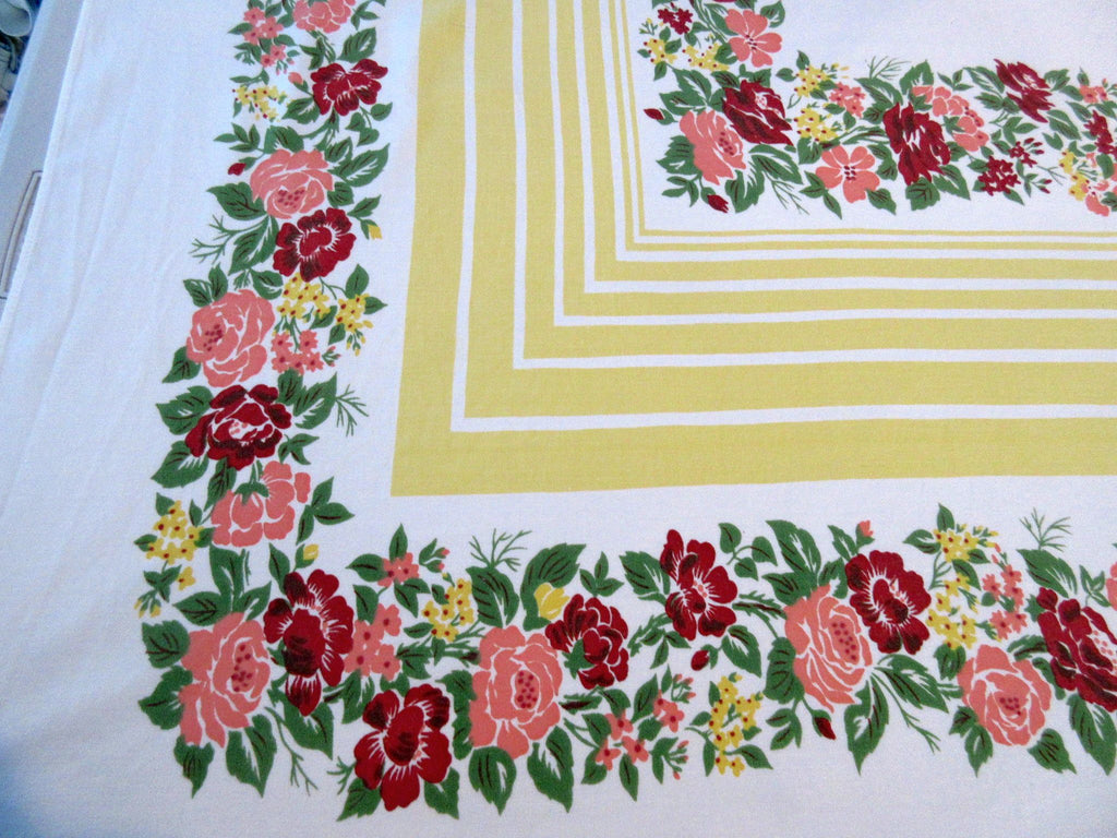 Shabby Fall Roses on Gold Floral Vintage Printed Tablecloth (61 X 53)