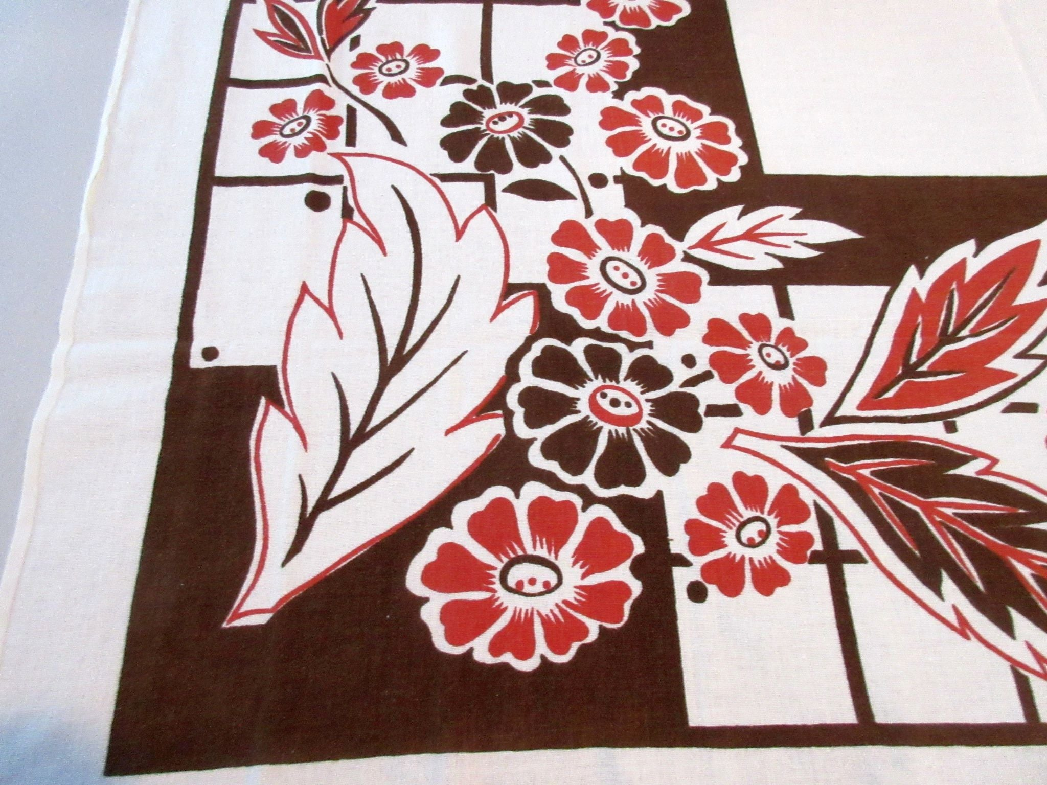 Early Brown Rust Stylized Floral Vintage Printed Tablecloth (46 X 44)
