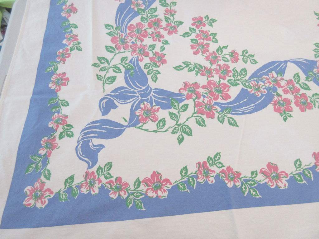 Pink Wild Roses Blue Ribbons Floral Vintage Printed Tablecloth (64 X 51)