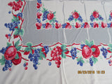 Primary Apples Grapes on Gray Ribbons Fruit Vintage Printed Tablecloth (56 X 52)