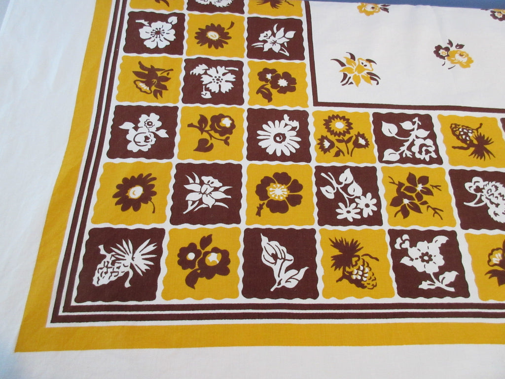 Fall Flowers and Pinecones Brown Gold Floral Vintage Printed Tablecloth (53 X 49)