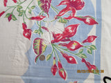Red Green Fuscias on Blue Cutter? Floral Vintage Printed Tablecloth (49 X 45)