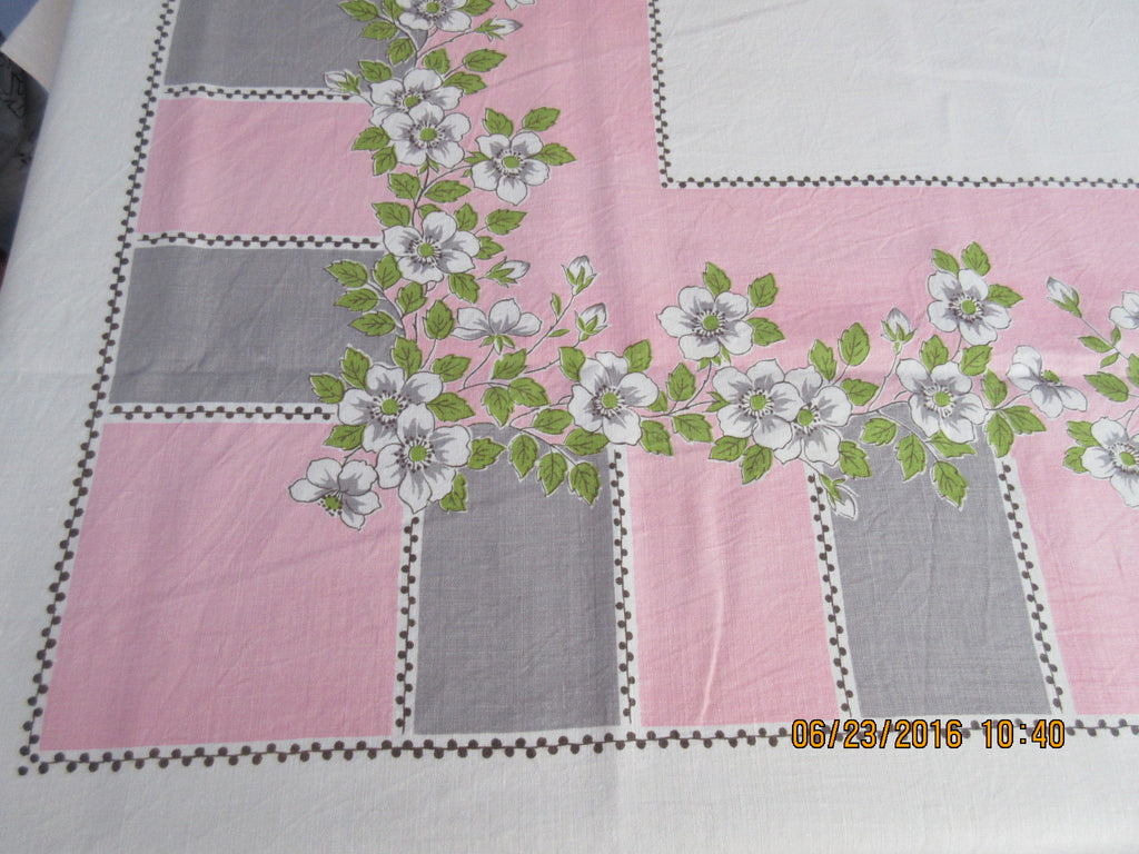 Wild Roses on Pink Gray Stripes Linen Larger Floral Vintage Printed Tablecloth (75 X 57)