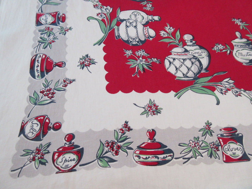 Black Gray Spice Jars on Red Novelty Vintage Printed Tablecloth (54 X 47)