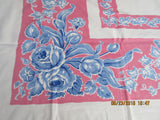 Blue Roses Tulips on Pink Floral Vintage Printed Tablecloth (53 X 45)