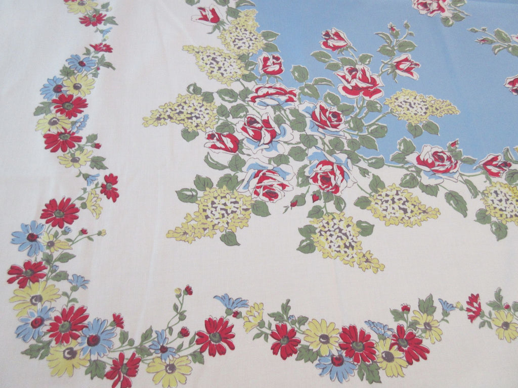 Yellow Lilacs Red Rose on Blue Floral Vintage Printed Tablecloth (54 X 47)
