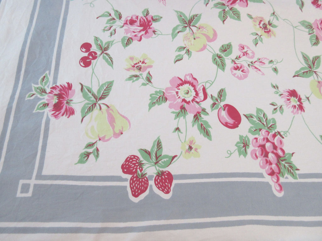 HTF Pastel Fruit Flowers on Gray Floral Vintage Printed Tablecloth (62 X 49)
