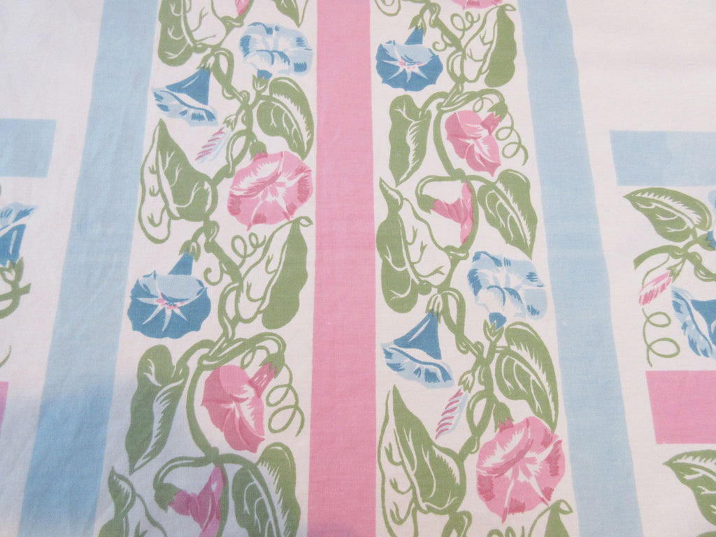 Biggest Pink Blue Morning Glories Floral Vintage Printed Tablecloth (80 X 69)