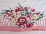 Pink Yellow Stripes Floral Ends Cutter? Vintage Printed Tablecloth (64 X 50)