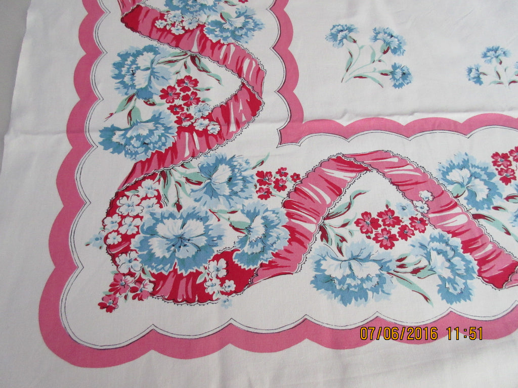 Blue Green Carnations and Pink Ribbons Floral Vintage Printed Tablecloth (53 X 48)