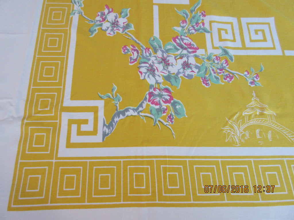 Larger Oriental Cherry Blossoms on Yellow Floral Vintage Printed Tablecloth (66 X 60)
