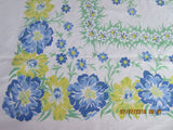 Large Heavy Blue Green Yellow Cosmos Floral Vintage Printed Tablecloth (69 X 56)