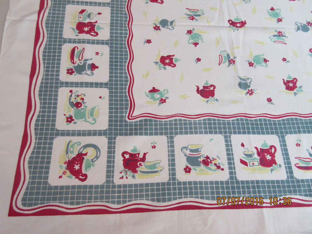 Broderie Red Teal Teapots Topper Novelty Vintage Printed Tablecloth (35 X 31)