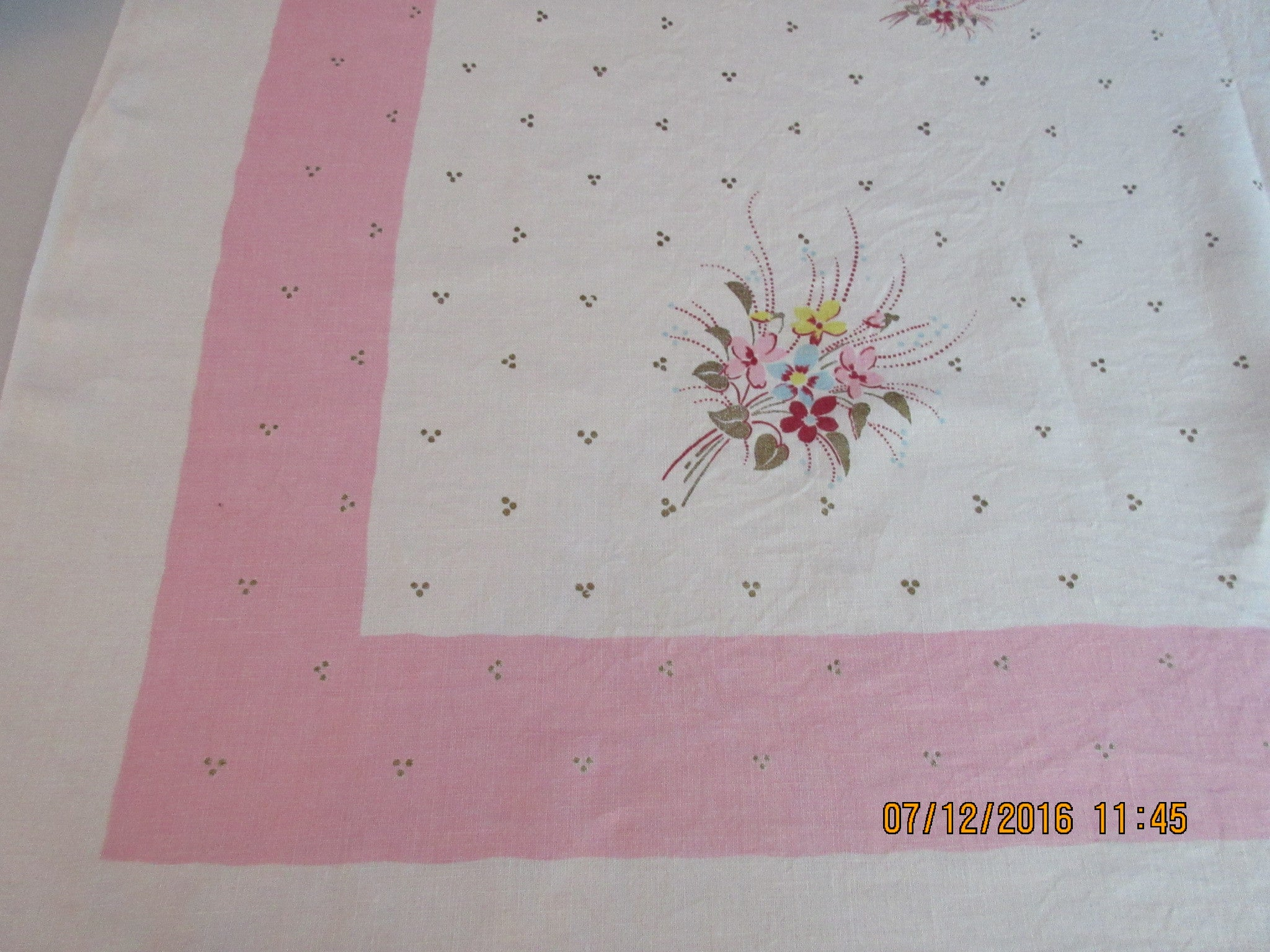 Pastel Gold on Pink Flowers Polkadots Floral Vintage Printed Tablecloth (50 X 50)