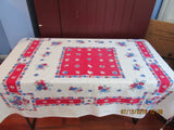 Early Smudgy Primary Poppies Daffodils on Red Floral Vintage Printed Tablecloth (56 X 47)