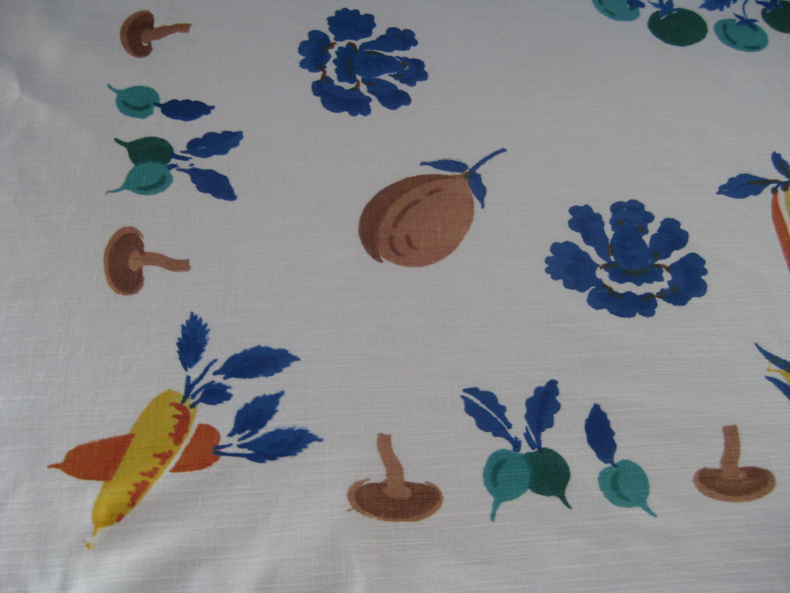Early Block Printed Vegetables Vintage Tablecloth (51 X 49)