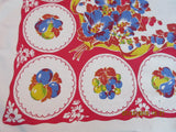Bright Early Primary Fruit Plates Poppies on Red Vintage Printed Tablecloth (51 X 49)