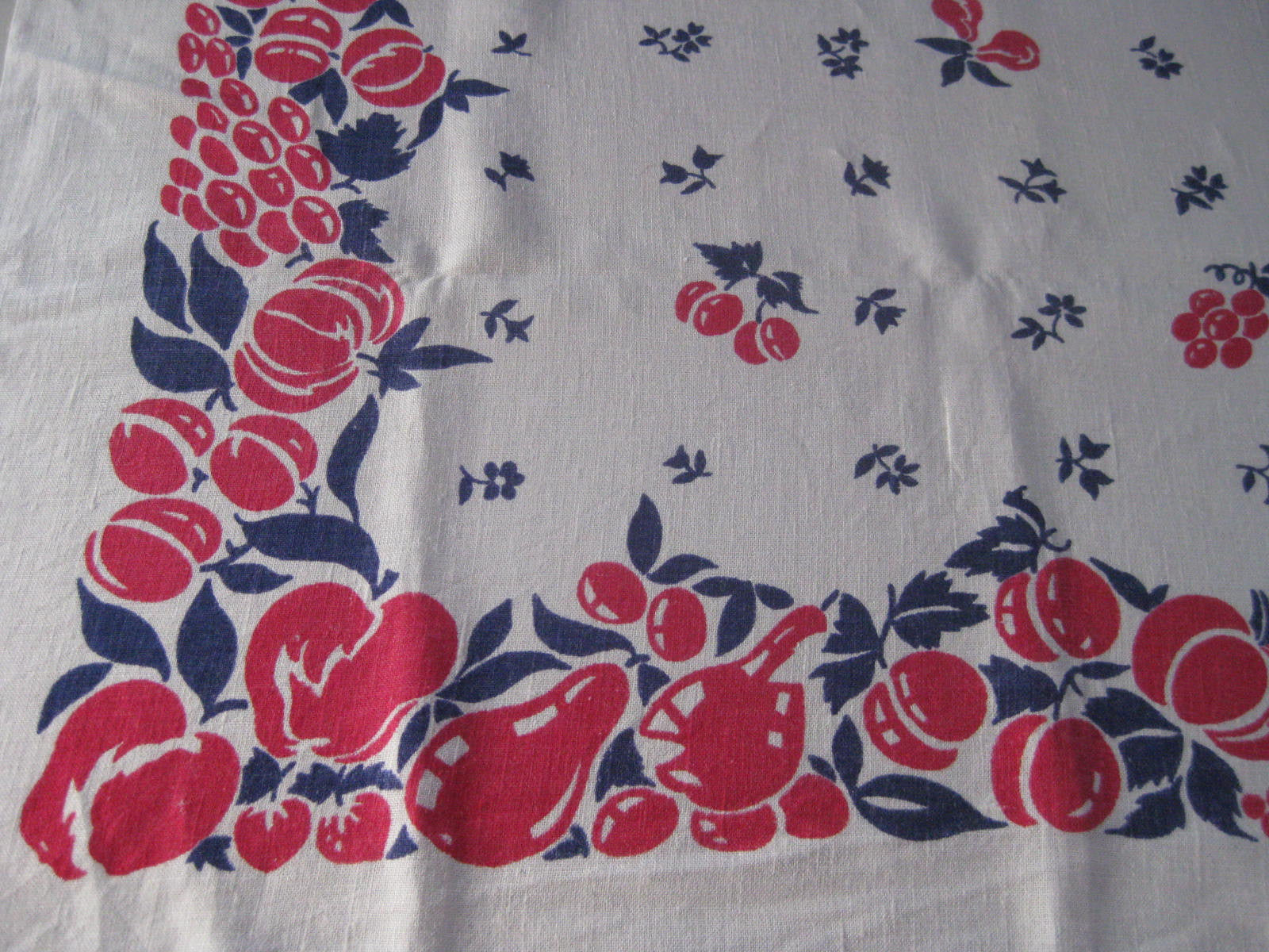 Red Blue Broderie Linen Fruit Vintage Printed Tablecloth (51 X 46)