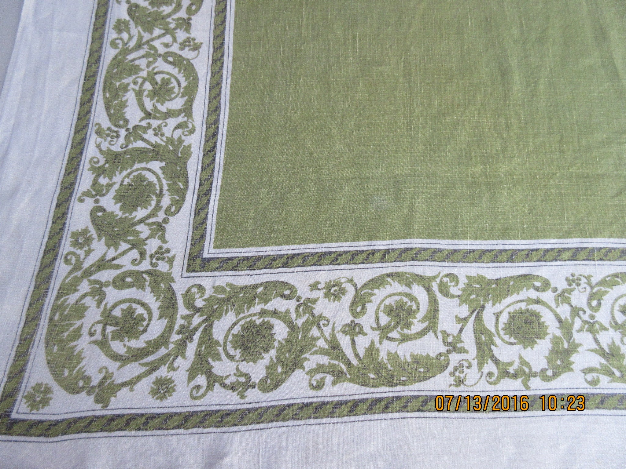 Olive Green Scrolls Christmas? Cutter? Linen Novelty Vintage Printed Tablecloth (67 X 52)