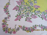 Large Pink Lilacs Gray Roses on Yellow Floral Vintage Printed Tablecloth (83 X 54)