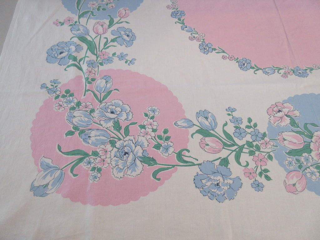 Blue Carnations Tulips on Pink Circles Floral Vintage Printed Tablecloth (52 X 48)
