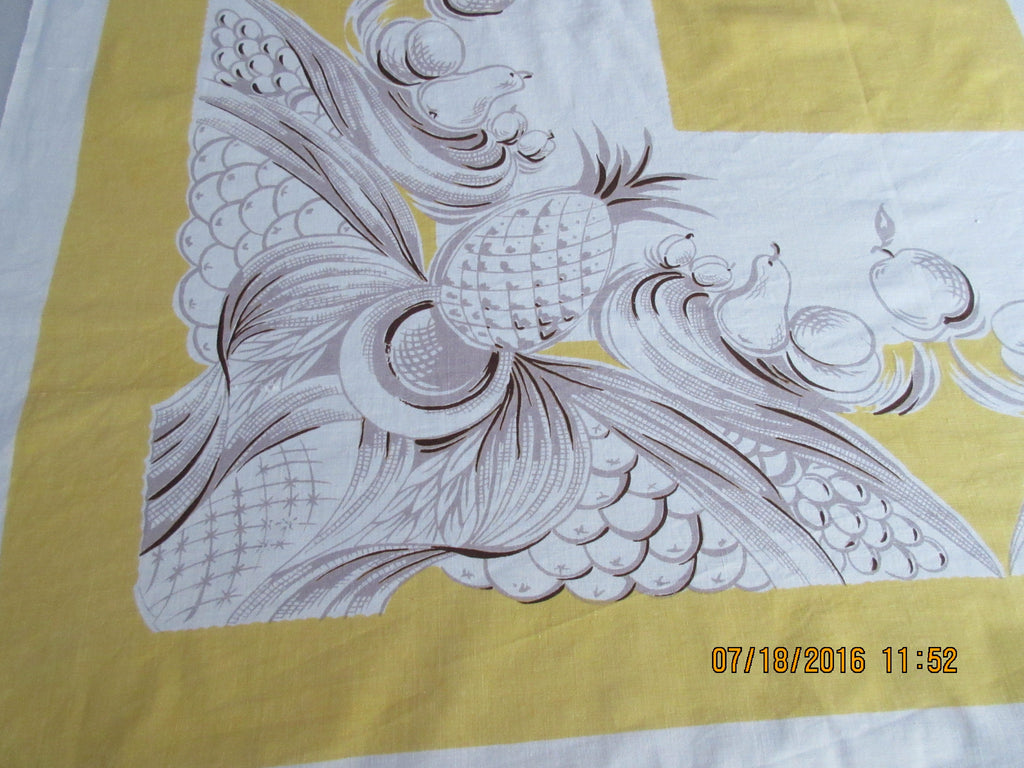 Brown Taupe Pineapples Fruit on Golden Yellow Vintage Printed Tablecloth (50 X 48)