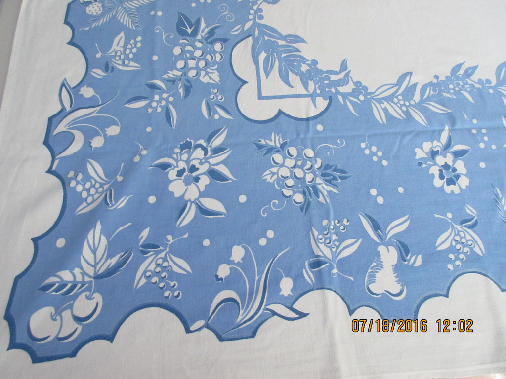 Larger Early Blues Fruit Grapes Flowers Vintage Printed Tablecloth (64 X 52)