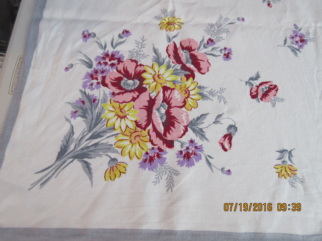 Large Poppies Daisies on Gray Linen Floral Vintage Printed Tablecloth (82 X 61)