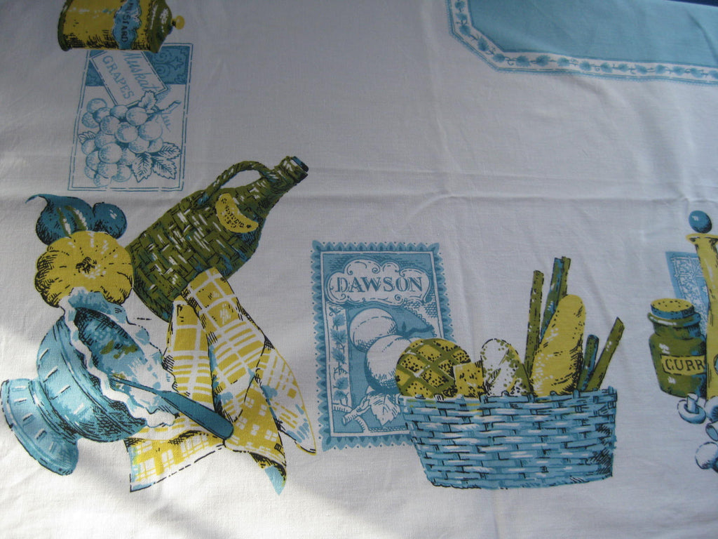 Blue Kitchen Labels Cutter? Vintage Printed Tablecloth (65 X 51)