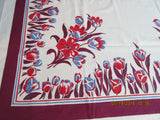Early Red Blue Tulips on Magenta Floral Vintage Printed Tablecloth (64 X 50)