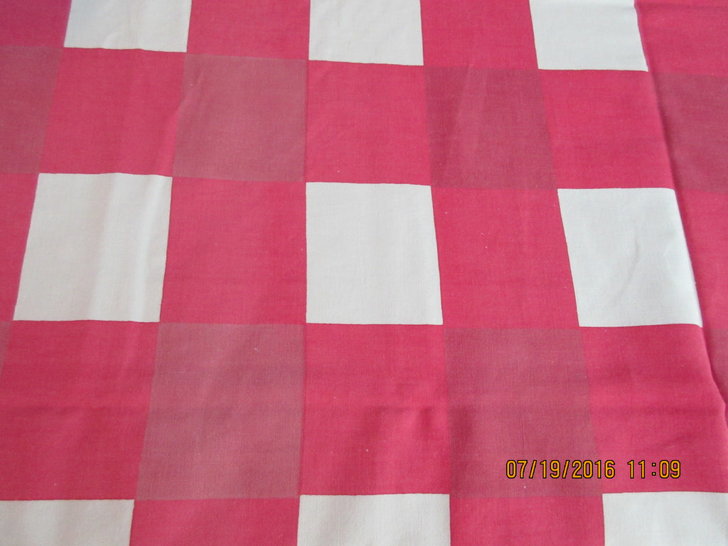 Startex Red White Picnic Plaid Novelty Vintage Printed Tablecloth (64 X 52)
