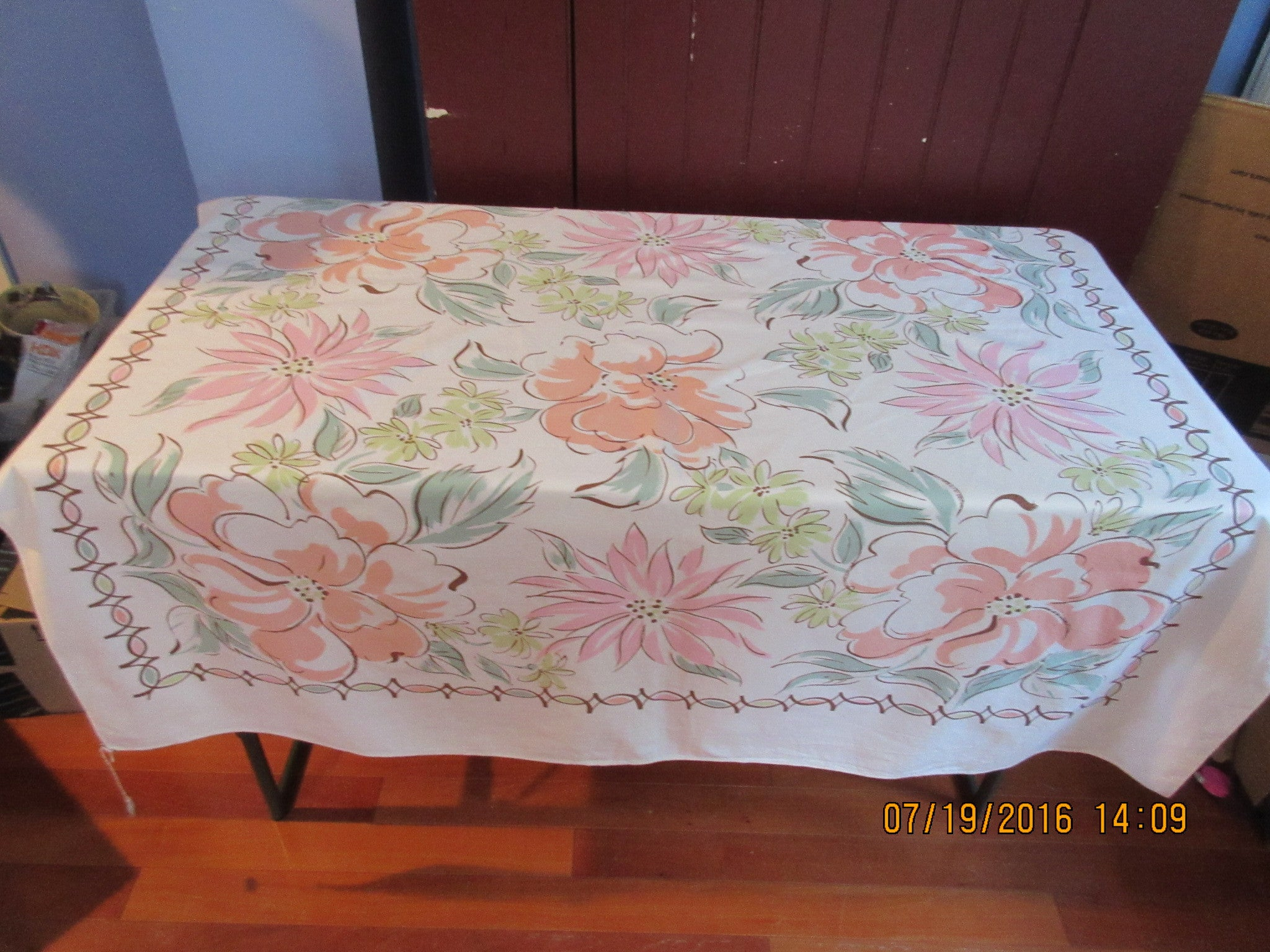 Funky Pastel Flowers Pink Cartoon Floral Vintage Printed Tablecloth (52 X  47)