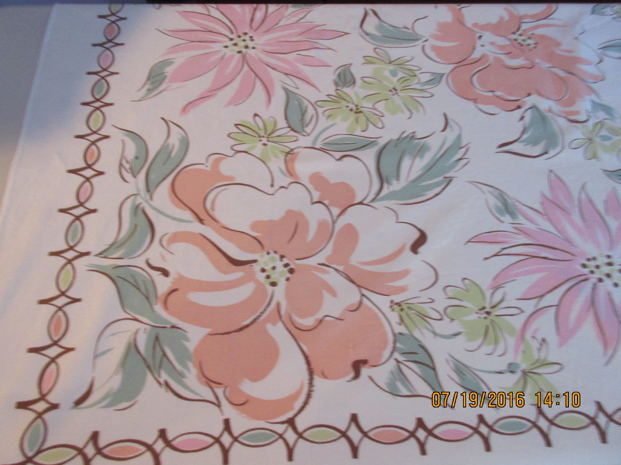 Funky Pastel Flowers Pink Cartoon Floral Vintage Printed Tablecloth