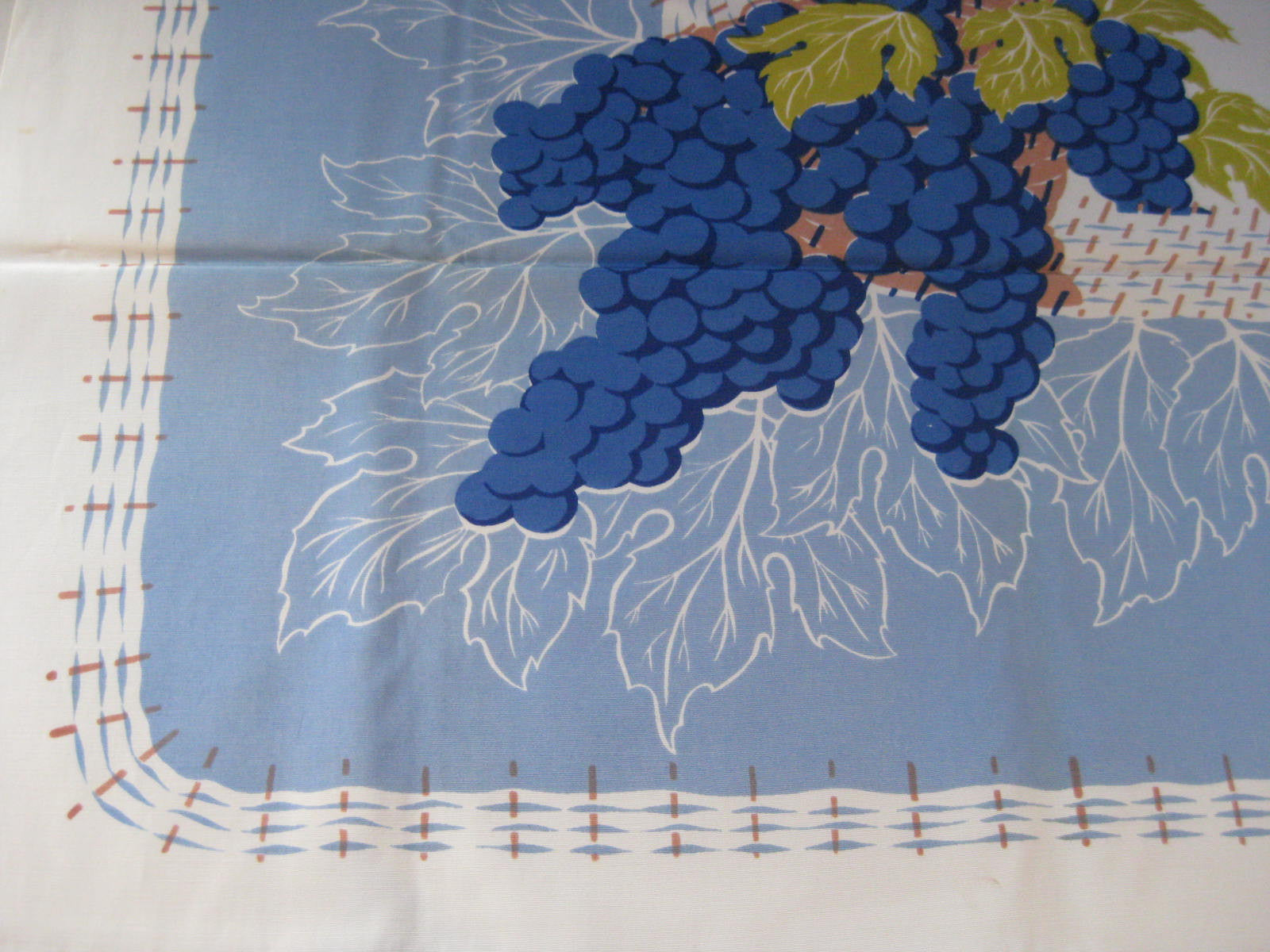 CHP Grapes on Blue Fruit MWT Vintage Printed Tablecloth (53 X 50)