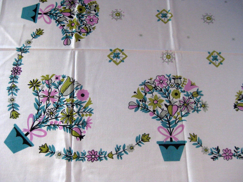Easter Pastel Tulip Pots Floral Novelty MWT Vintage Printed Tablecloth (52 X 50)