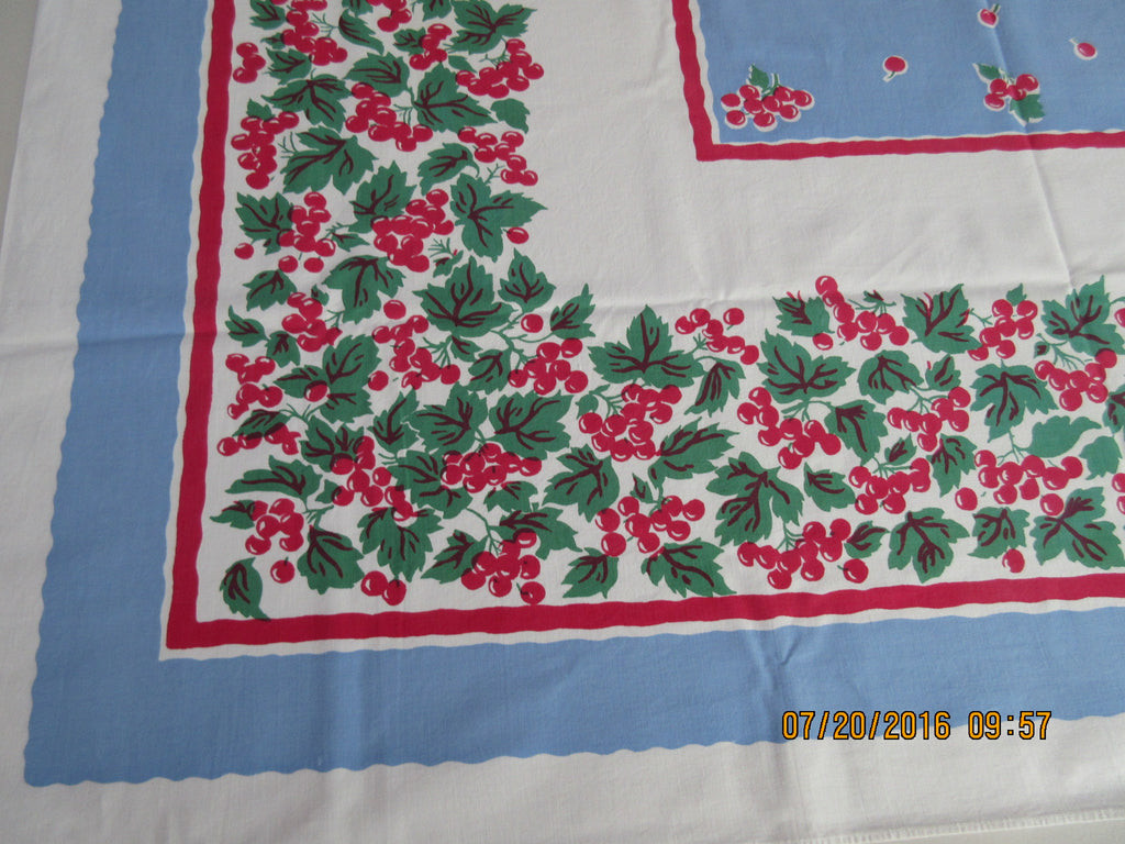 Bright Red Green Cherries on Blue Fruit Vintage Printed Tablecloth (49 X 45)