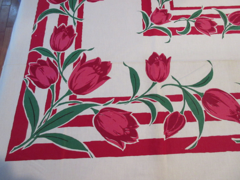 Bold Pink Green Tulips on Red Startex MWT Floral Vintage Printed Tablecloth (69 X 51)