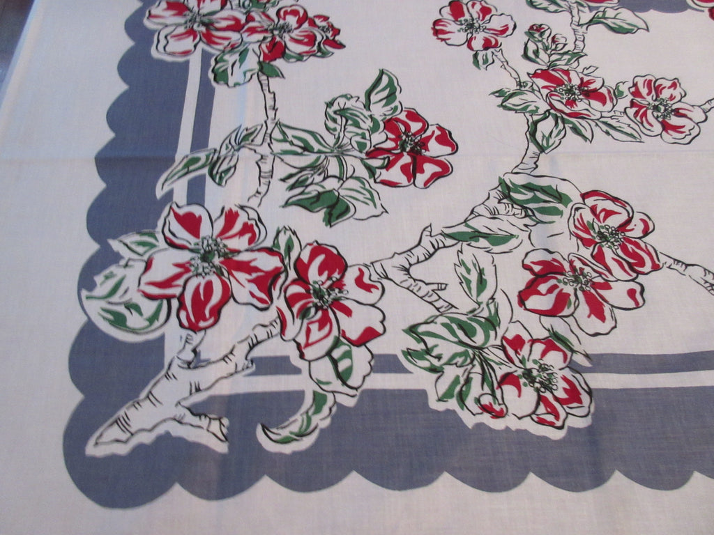 Red Dogwood on Gray ML MWT Floral Vintage Printed Tablecloth (70 X 51)