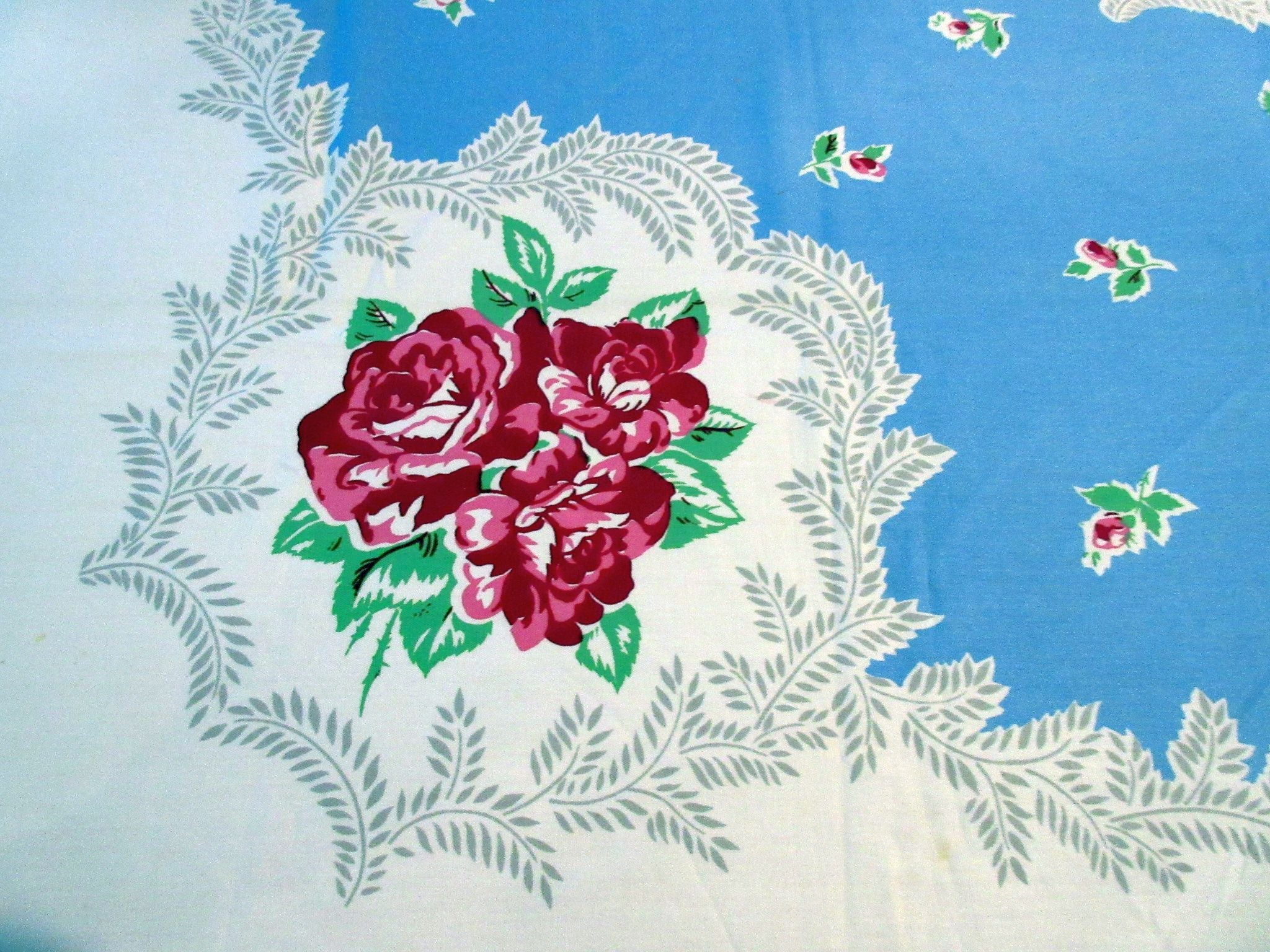 Pink Roses on Blue Unused? Floral Vintage Printed Tablecloth (71 X 54)