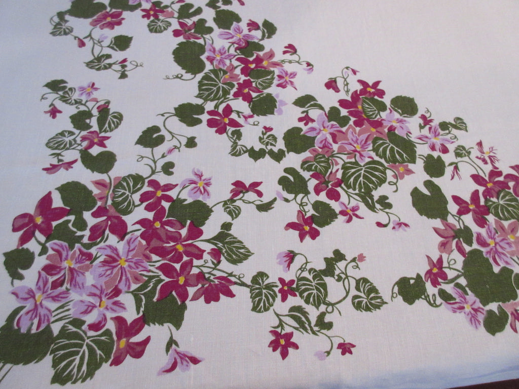 Purple Violets on Oatmeal Linen Floral Vintage Printed Tablecloth (66 X 50)